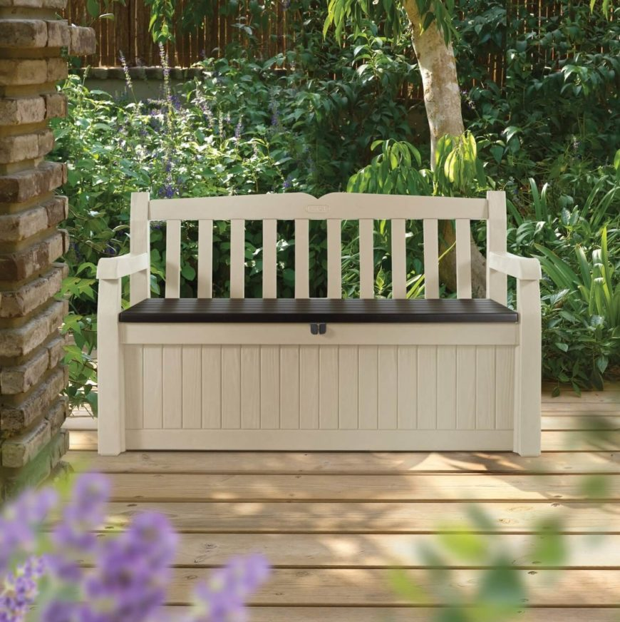 On this patio sits a fantastic wooden outdoor bench. This bench even comes with underseat storage and an additional feature to lock it, making it not only a seat with storage, but a lockbox as well. This bench is on the lower end of the price range so it is very affordable.