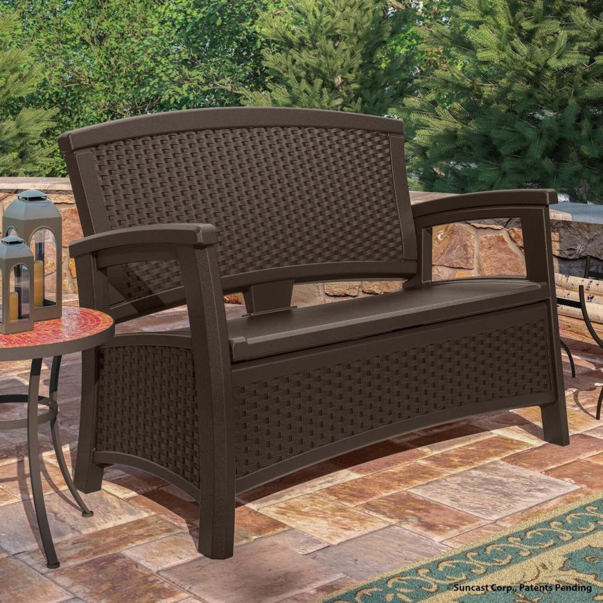This durable bench has underseat storage and a stylish wicker design. It is also weather resistant, making it long lasting if left outside in the elements. This bench sits at the mid to low end on the cost spectrum.