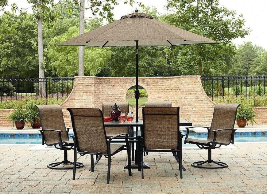 here is a pleasant patio set that has 6 chairs and an umbrella to keep you - Patio Furniture Ideas