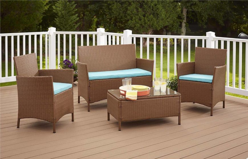 This lovely set of resin weave patio furniture is weather resistant and stylish. This kind of furniture comes in a large selection of colors. There is sure to be a set that will match your patio color palette.