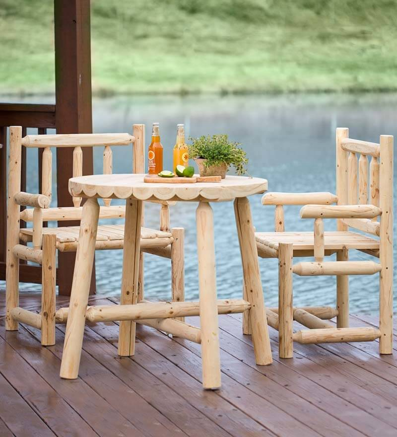 This small set of patio furniture has a rustic and raw wood appeal. This patio set is wonderful because it can be painted or stained to match nearly any style; it also looks amazing unpainted and natural when left alone.