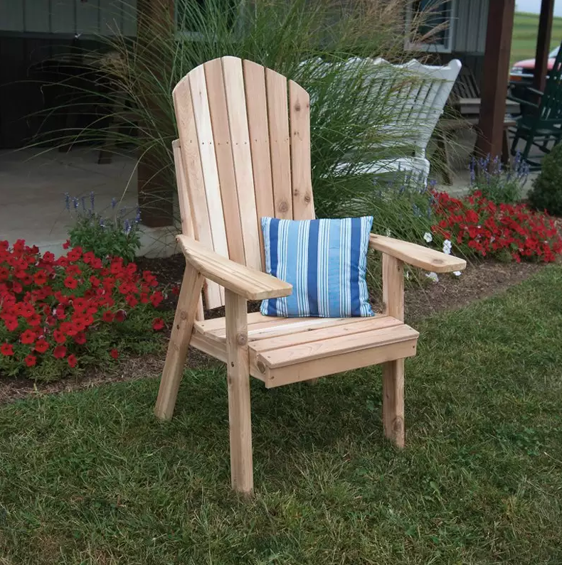 Here is a comfortable adirondack chair that is both sturdy and simple. You can lose yourself in a good book while sitting in this relaxing outdoor chair.