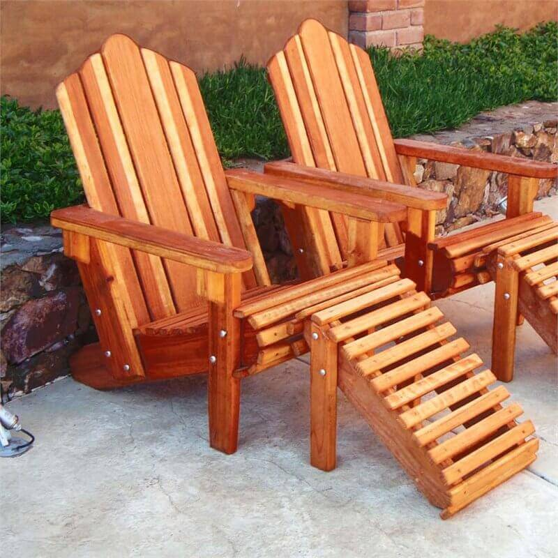 Here is a pair of high end adirondack chairs with matching leg rests. The design of these chairs allows for maximum relaxation. Any location these chairs are placed instantly becomes an amazing getaway spot where the outside world melts away.