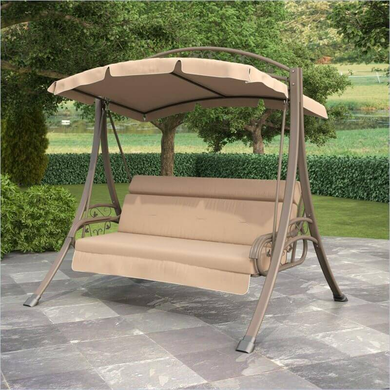 This swing has its own frame and umbrella so that the entire thing is mobile. This sturdy swing with metal posts and fame would look great on a patio or in the grass near a fire pit.