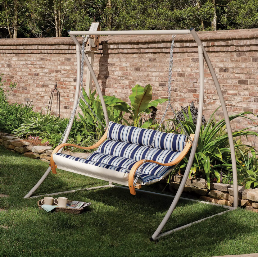 You can lean back far in this padded reclining yard swing. The recliner design lets you sink deep into a calm and relaxed swing. What better swing is there to drift away in?