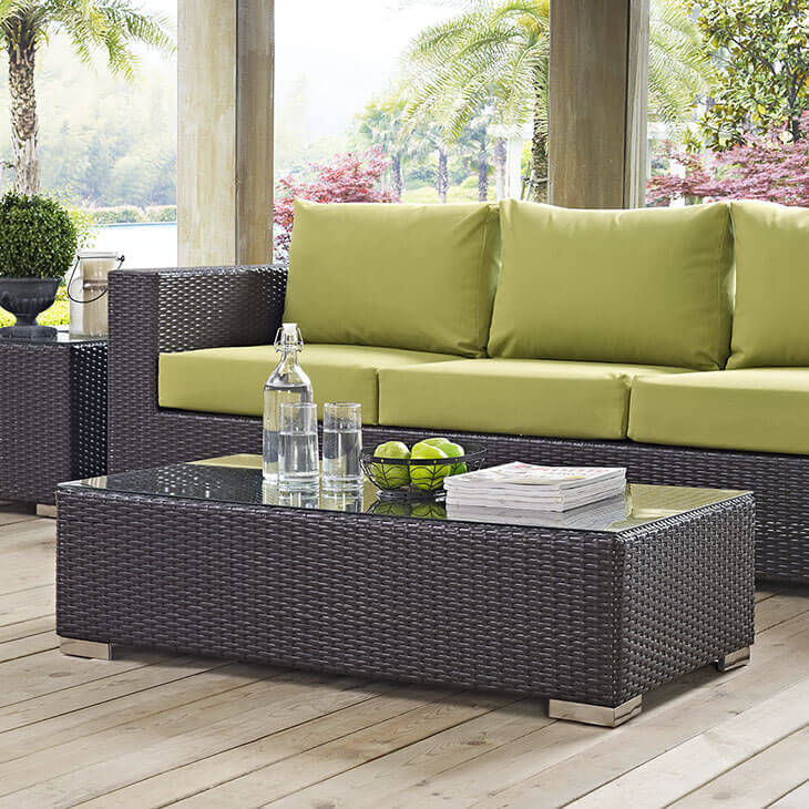 This affordable weave table with glass top is nice and long so that it pairs well with longer outdoor sofas or multiple outdoor chairs. There is plenty of table space for your guests with a piece like this.