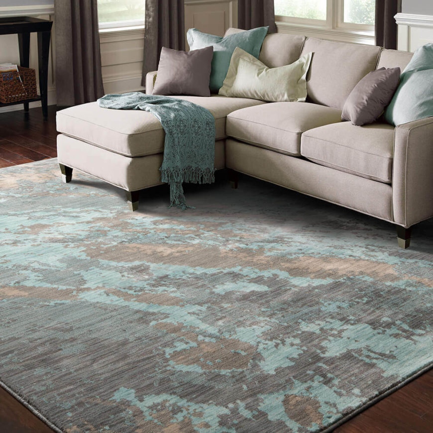 With Splashes Of Aqua This Rug Feels Airy And Light Is A Perfect For