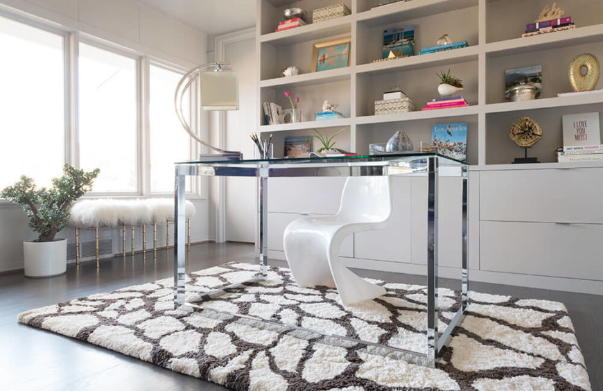 A fluffy pebble design rug offers cozy appeal and softens hardwood or tile flooring.