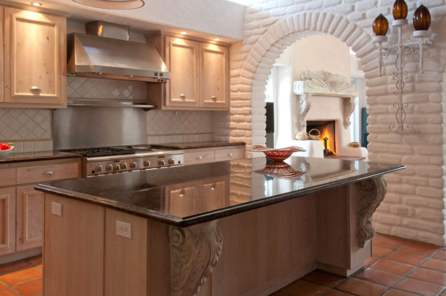 Nice Brick Can Provide Great Texture To Your Mediterranean Style Kitchen. The  Tiled Backsplash Pictured Here