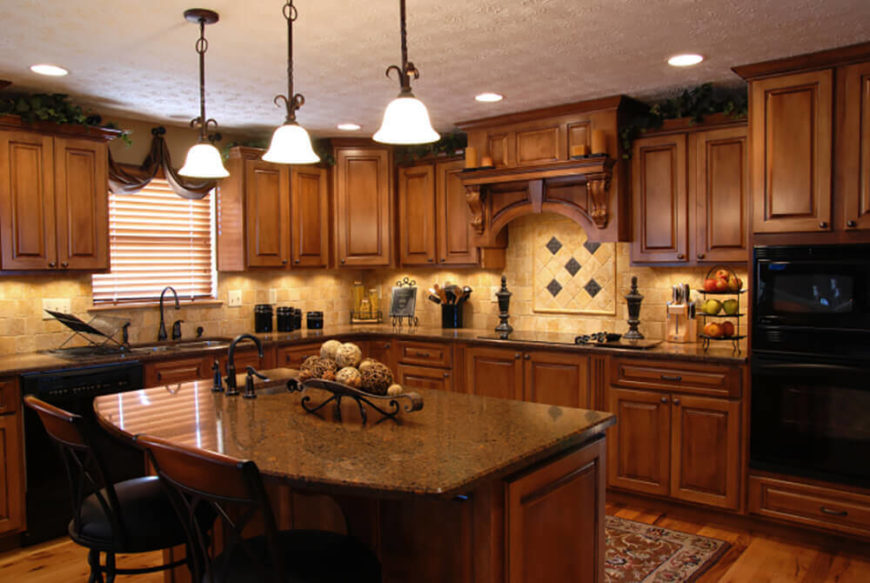This Mediterranean kitchen is a has a wonderfully warm and welcoming appeal  built up from rich