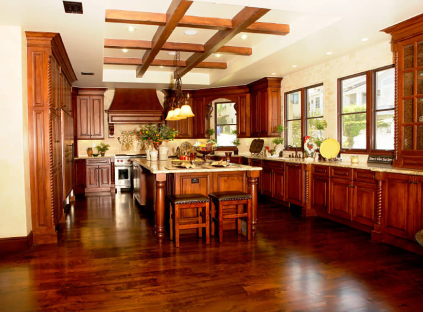 wall color with cherry wood floors 50 mediterranean style kitchen ideas for 2017
