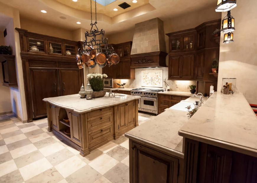 The counters in this kitchen all have rounded and decorative ends. This type of edging can be used to increase the ornamentation and visual depth of your surfaces.