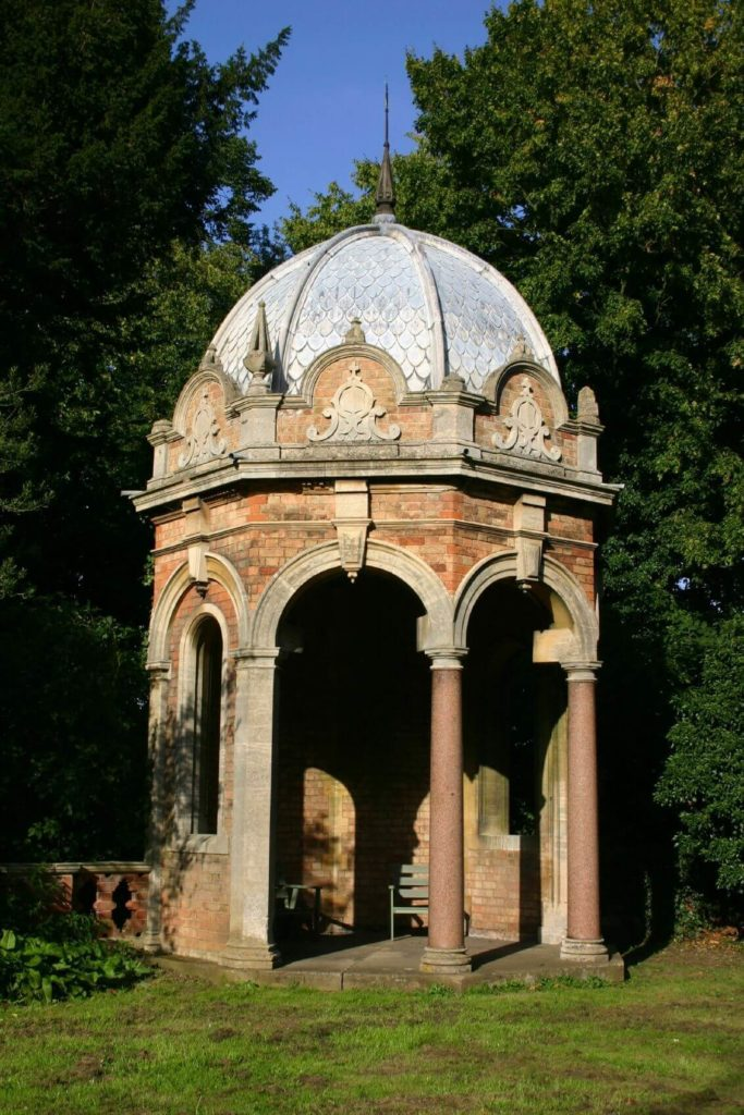 Here is a small and octagonal gazebo that is made from brick. This stylish and beautiful gazebo will last for years and provide a stunning and classy look.