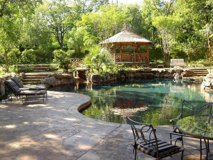 A nice shady gazebo is the ideal spot to relax and look over your pool. You can keep an eye on swimming kids in comfort.