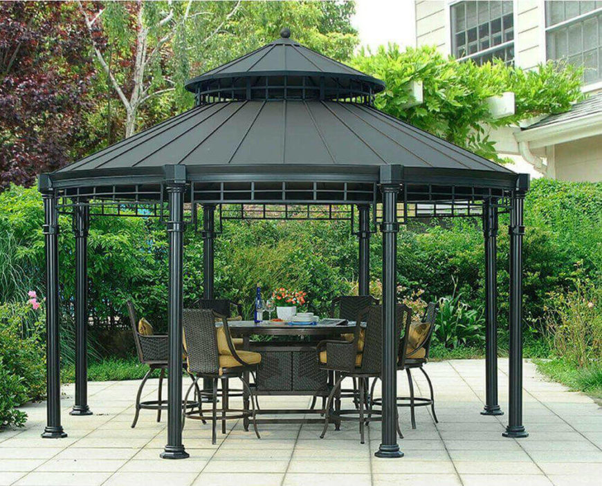 36 spectacular hardtop gazebo ideas. Black Bedroom Furniture Sets. Home Design Ideas