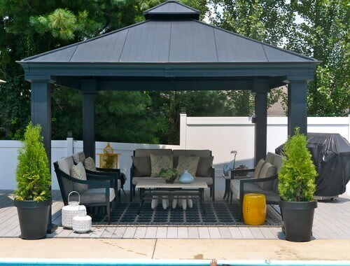A large enough gazebo can fit your entire patio set of furniture. You can place your entire outdoor lounging area under a nice shady hardtop.