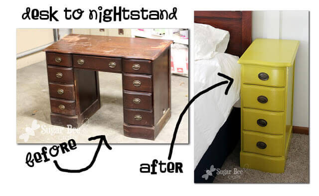 Building matching nightstands has never been so easy! This DIY is a great way to repurpose an old desk and get matching nightstands. Paint or stain the wood to get the right color or style for your current décor.