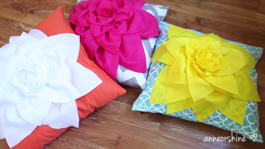 These adorable floral throw pillows are super easy to make and leave a lasting impression on guests. They'll never believe that you didn't buy these pillows! These pillows would look best in a contemporary living room, or as part of a cute teen girl's room ensemble!