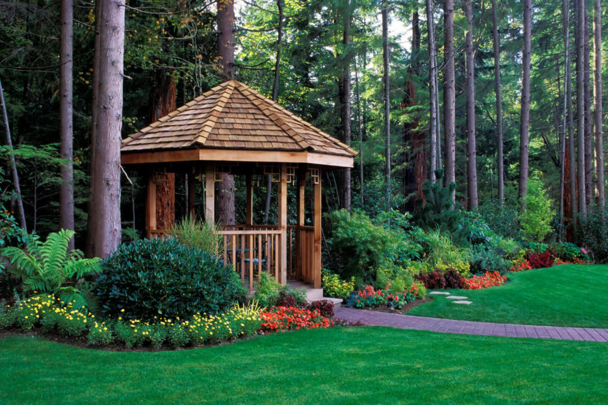 This Gazebo Serves As An Entranceway To The Forest Beyond The Garden. Using  A Gazebo