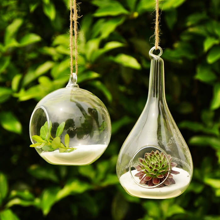 These interesting glass globes with plants in them make an interesting statement while introducing life and color to your space. Hang these in your stylish gazebo for a modern and sleek way to bring plants into the space.