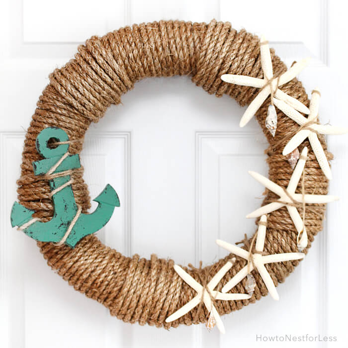 looking to shout to the world that you love the beach this adorable rope wreath - Diy Beach Decor