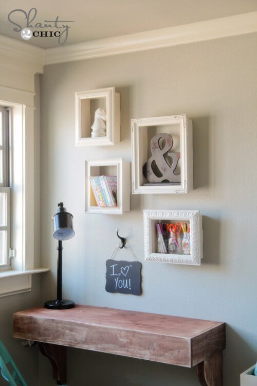 96 diy room d cor ideas to liven up your home - Shelving for picture frames ...