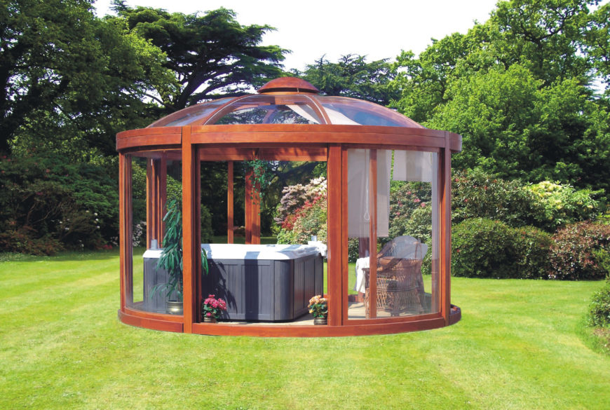 26 spectacular hot tub gazebo ideas. Black Bedroom Furniture Sets. Home Design Ideas