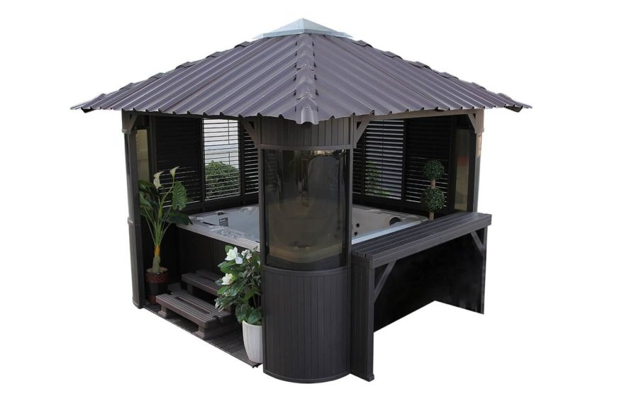 18 Gazebo HotTub - This piece combines both hot tub and gazebo together. The covered gazebo is perfect in all kinds of weather and includes shades for privacy as well.
