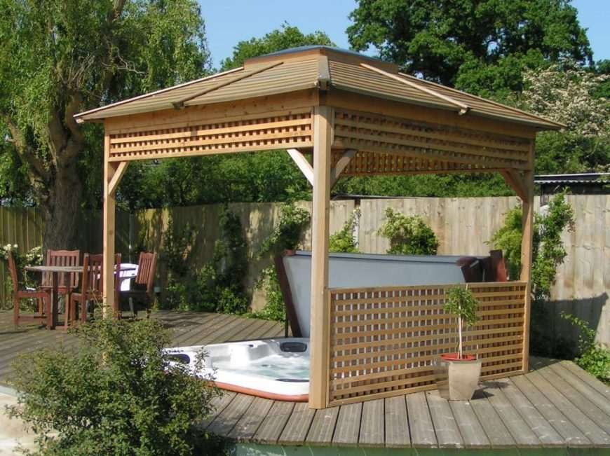 26 spectacular hot tub gazebo ideas for Diy hot tub gazebo