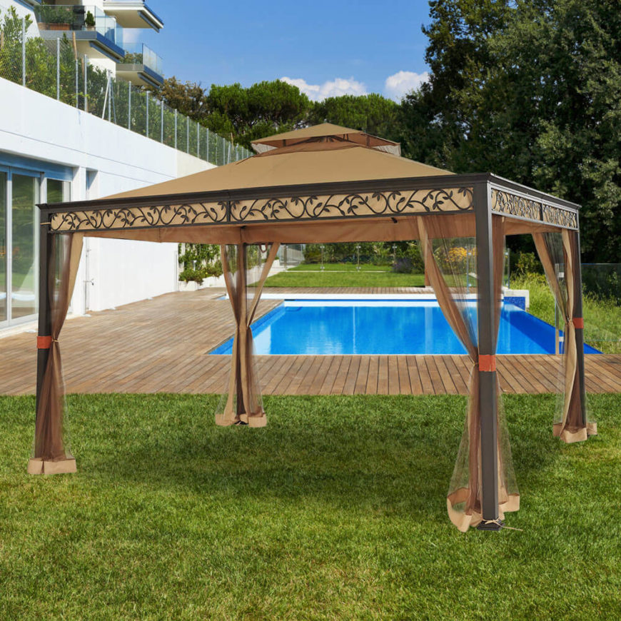 This easily portable gazebo can be placed anywhere and would look particularly good pitched near a pool. The net curtains help reduce the nuisance of insects at your outdoor gatherings.