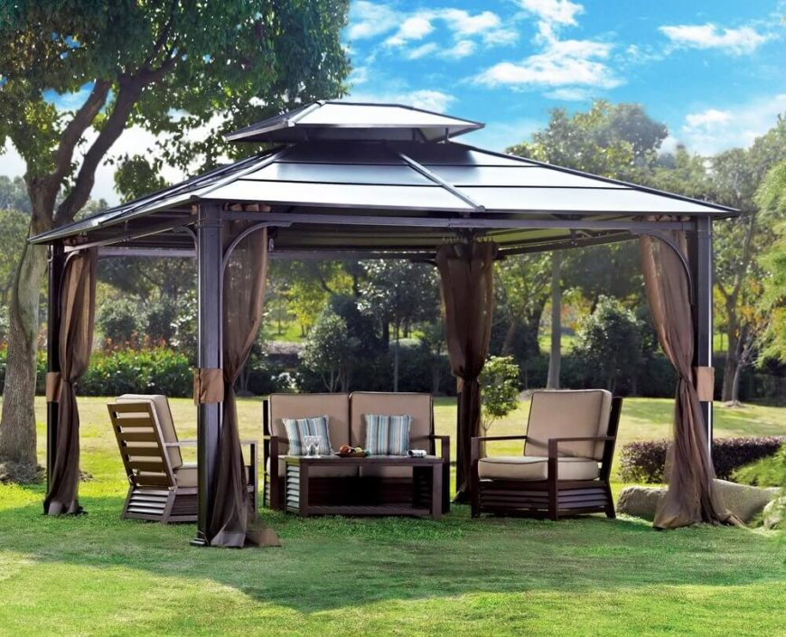 34 metal gazebo ideas to enhance your yard and garden with - Small gazebo with netting ...