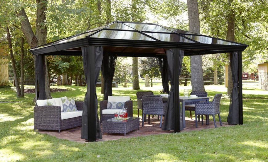 High Quality This Gazebo Sets The Stage For A Cozy And Welcoming Outdoor Relaxation And  Eating Area.