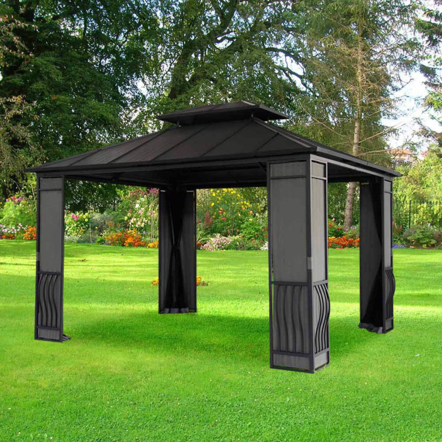 Set this gazebo up wherever you need it. This metal gazebo is easy to move and comes with bug screens to keep out troublesome insects, helping you to enjoy your shady time uninterrupted.