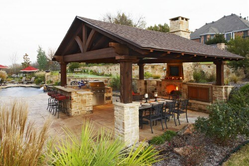 Beau This Enormous Gazebo Features Stone Supports, A Large Stone Fireplace, A  Grill And Outdoor Traditional Patio ...