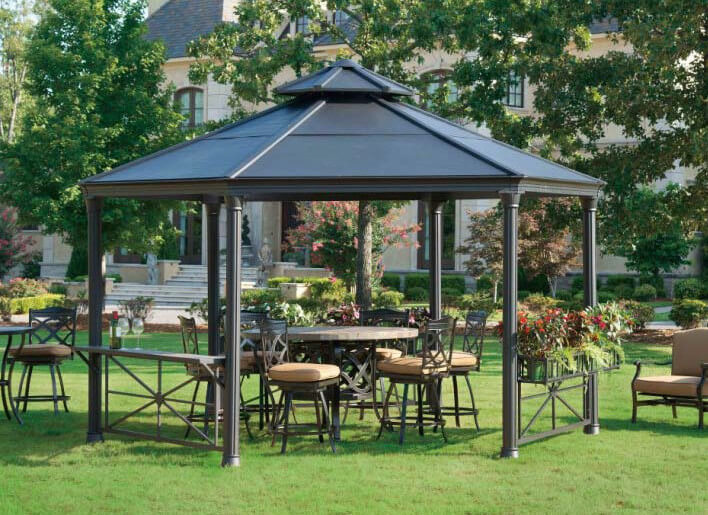 This Metal Gazebo Houses Some Marvelous Hard Furniture And A Matching  Center Table. Metal Gazebos
