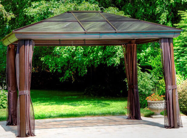 Portable metal gazebos can be placed on any relatively flat surface, including grass. They also work great when placed on a patio. The solid foundation of a patio may be a better base for certain events or furnishings.