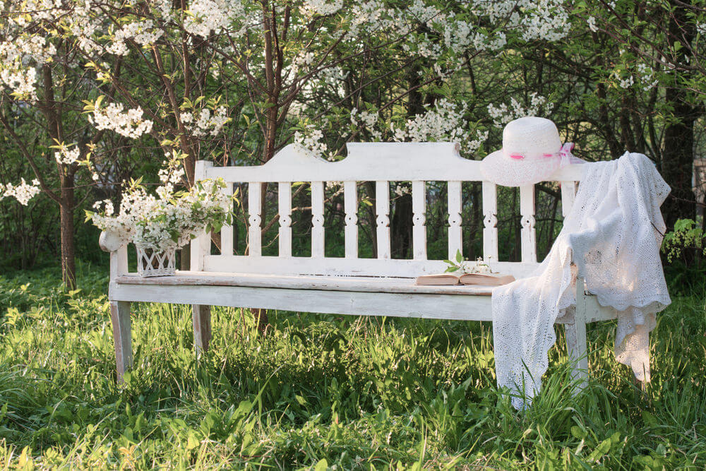 A simple white garden bench nestled on thick grasses with a few blossoming apple trees behind.