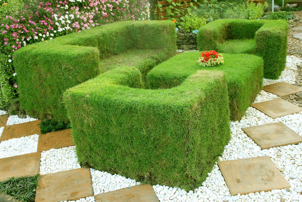 Garden Bench Ideas Part - 17: This Is An Extension Of The Grassy Landscape Formed Into A Creative Sofa  Set Complete With