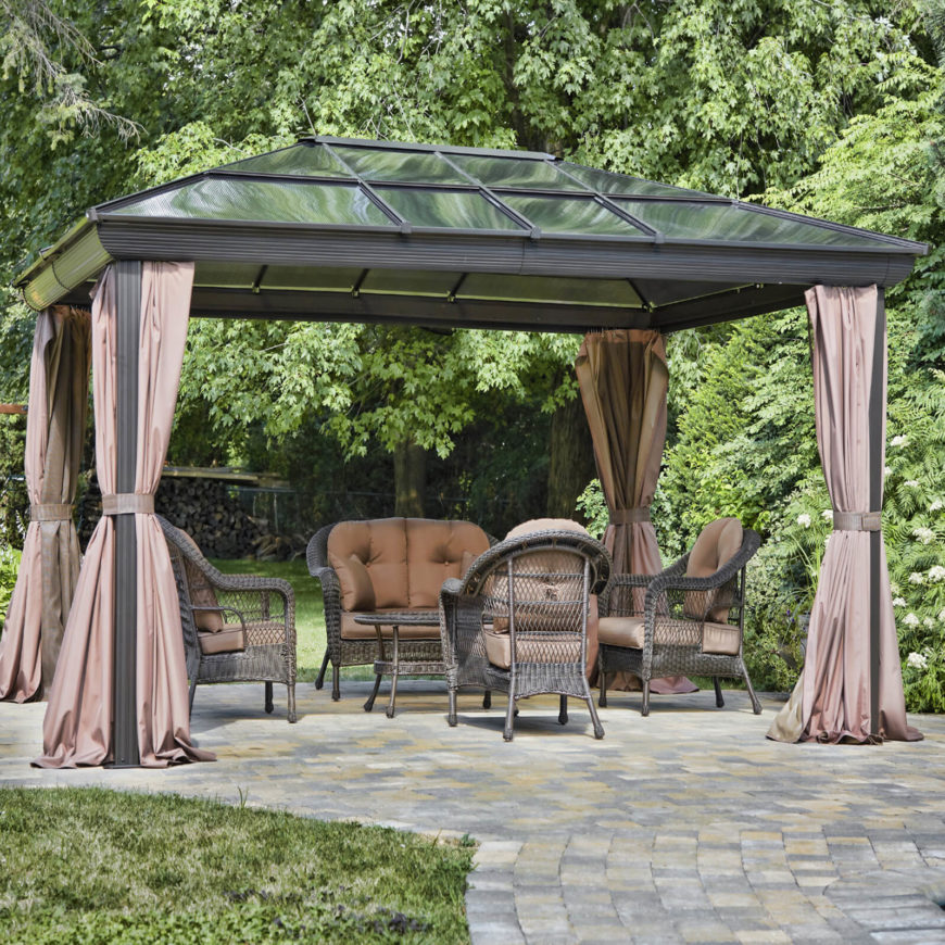 This gazebo is designed to keep your temperature just right, with a solar roof and curtains that will keep in either coolness or heat. The weather will be less of an issue when you can control the climate.