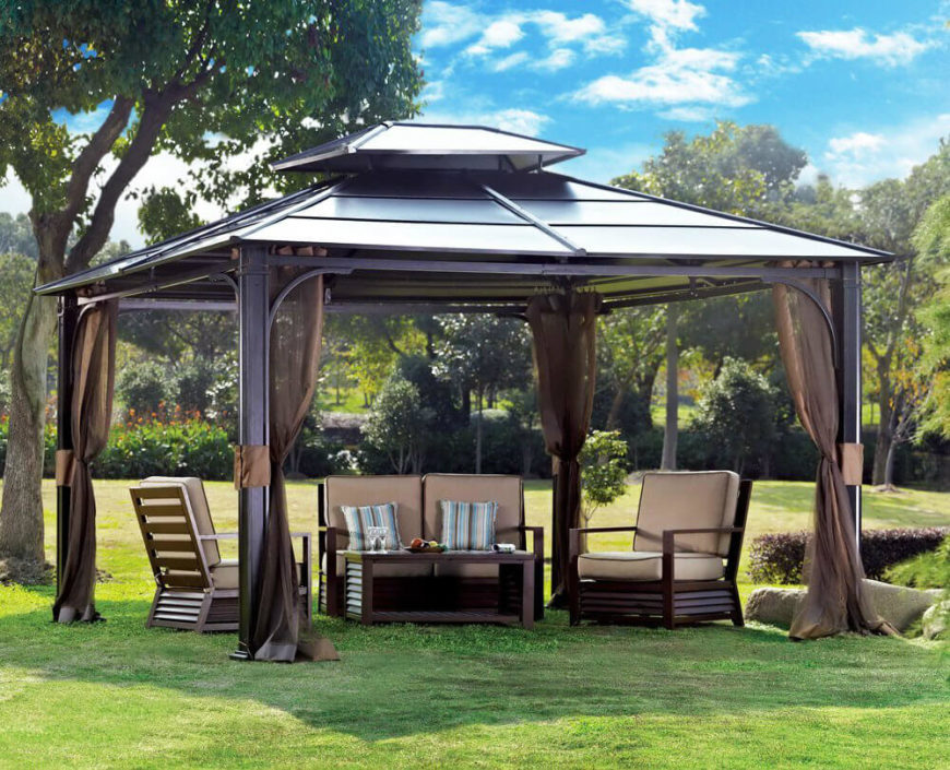 This metal gazebo has curtains that are pulled back and out of the way. When & 27 Gazebos With Screens For Bug Free Backyard Relaxation