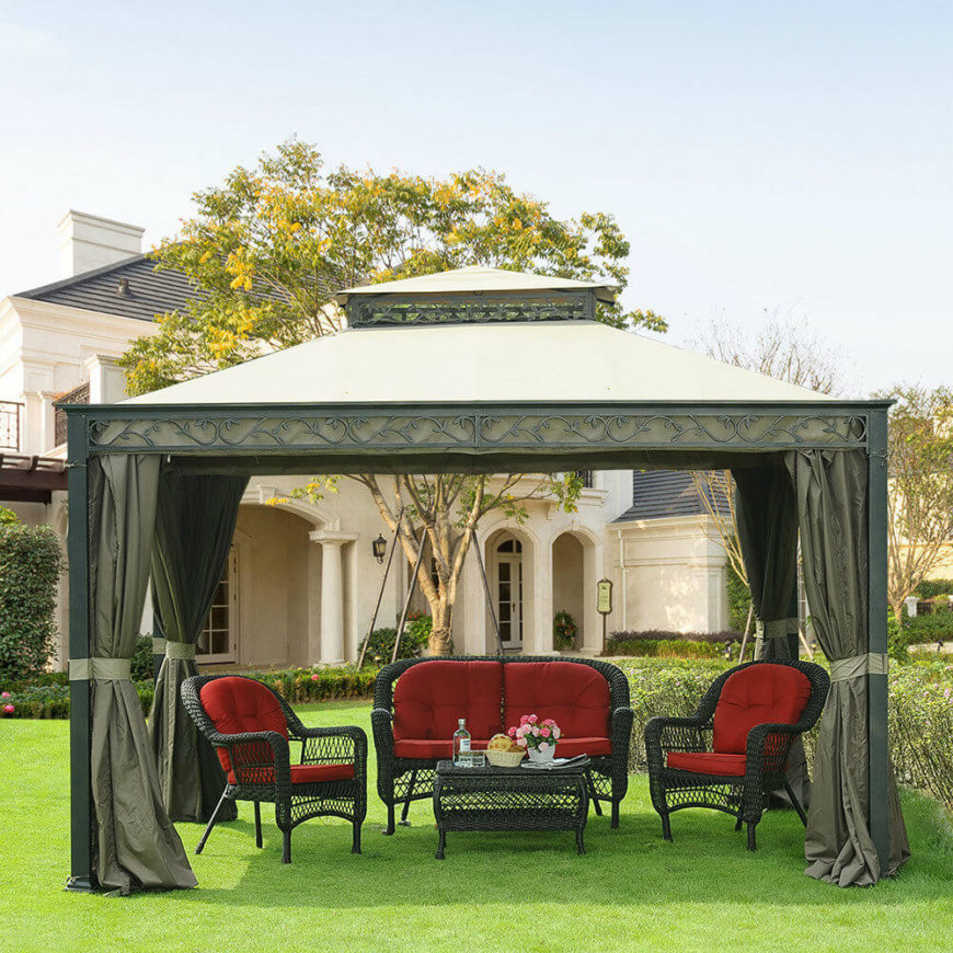 This fabric top gazebo has matching curtains, making it a stylish addition to any garden or yard. With a nice set of yard furniture underneath the gazebo you will have a built-in social gathering spot that is welcoming and cozy.