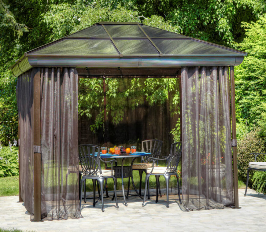 This gazebo has a screen that is in the form of a curtain on a rod which can be pulled closed or opened. This allows you to use the screen when the bugs get bad but also to open it up when you don't need it.