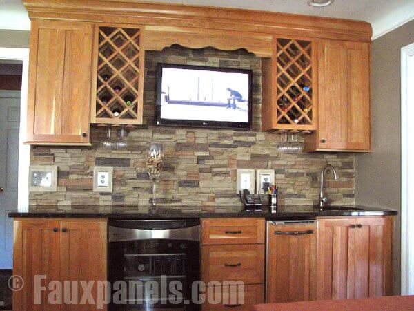 faux stone kitchen backsplash 30 faux brick and rock panel ideas pictures 7185