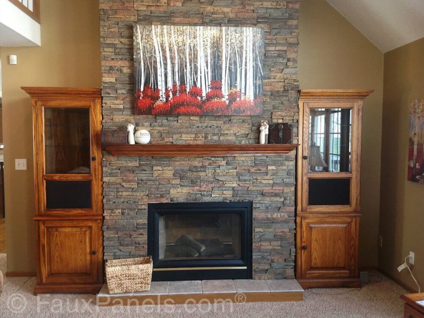 30 faux brick and rock panel ideas pictures for Faux marble fireplace mantels