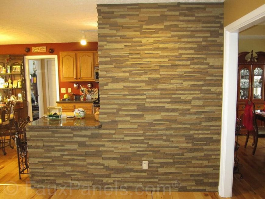 Here The Faux Stone Is Used To Create An Accent Wall Leading From Dining