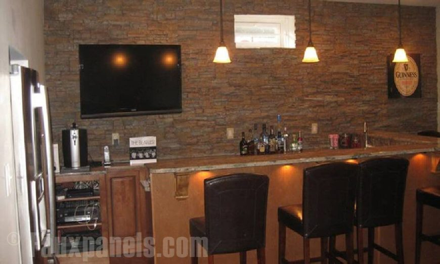 30 faux brick and rock panel ideas pictures for Bar back plans