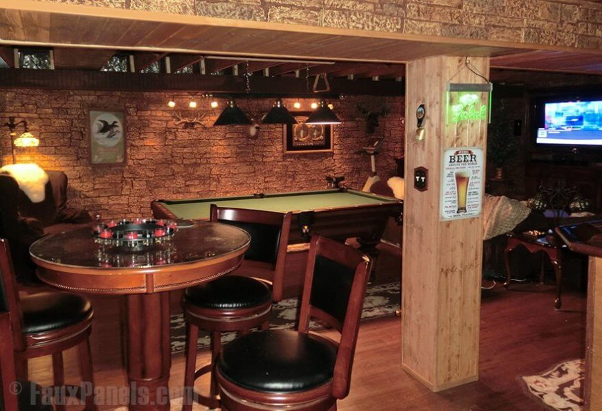 Ideas For A Rustic Man Cave : Faux brick and rock panel ideas pictures