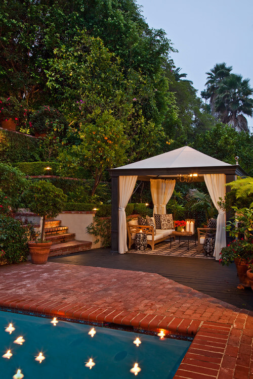 When your gazebo is a permanent structure you can install lighting fixtures that will make this outdoor space feel more like a home away from home. The lighting can warm up the space and make it an inviting and cozy space.