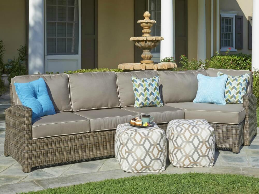 Brown wicker patio sofa