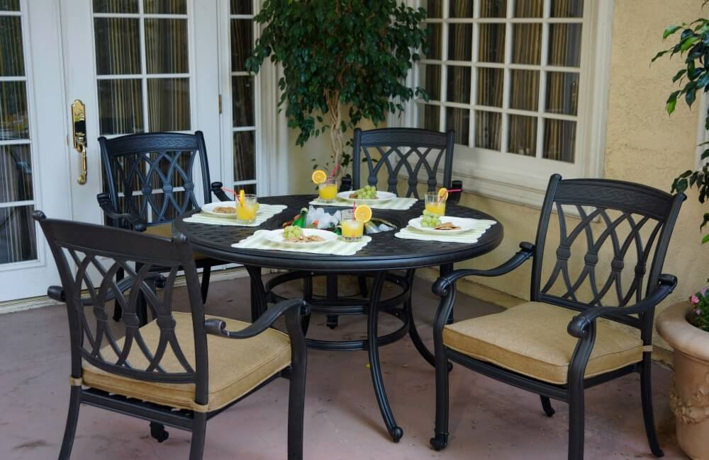 Traditional charcoal iron-style patio dining set